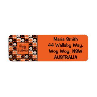 Halloween pumpkin mosaic return address label