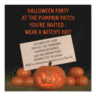 Halloween Pumpkin Party Invite Magnetic Card Magnetic Invitations