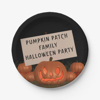 Halloween Pumpkin Patch Personalized Paper Plates 7 Inch Paper Plate