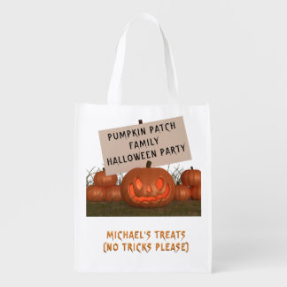 Halloween Pumpkin Patch Personalized Treat Bag Grocery Bags