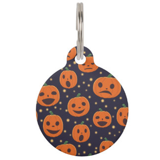 Halloween Pumpkin Pattern Jack-o-Lantern Festive Pet Name Tag