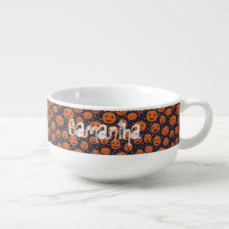 Halloween Pumpkin Pattern Jack-o-Lantern Festive Soup Bowl With Handle
