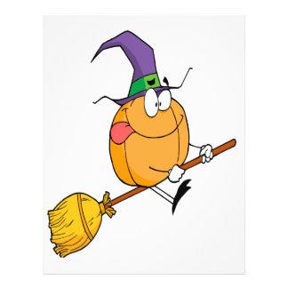 halloween pumpkin riding broomstick cartoon flyer design
