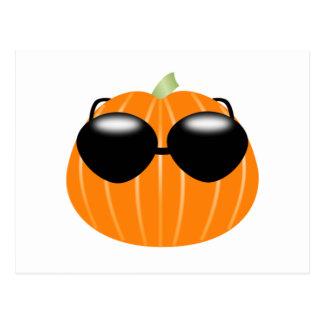 Halloween Pumpkin Wearing Sunglasses Postcard