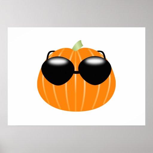 Halloween Pumpkin Wearing Sunglasses Print