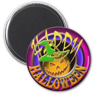 Halloween pumpkin witch face pink purple magnet
