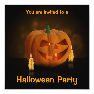 Halloween Pumpkin with Candles - Invitation