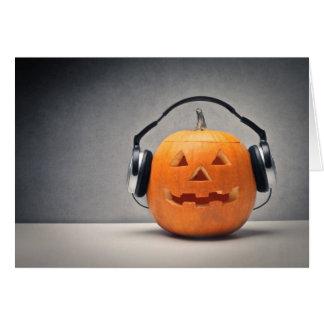 Halloween Pumpkin With Headphones For Music Card