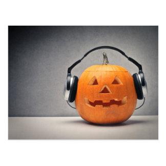 Halloween Pumpkin With Headphones For Music Postcard