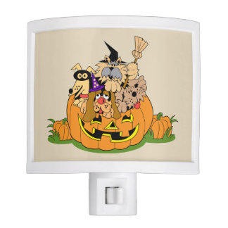 Halloween pumpkin with illustrated dogs night lites