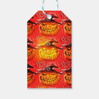 halloween pumpkin with witch hat pack of gift tags
