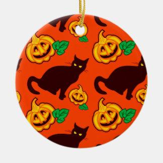 Halloween pumpkins and black cat ceramic ornament