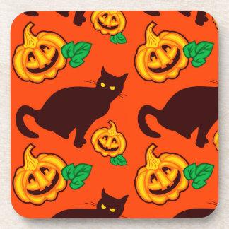 Halloween pumpkins and black cat coasters