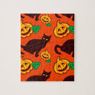 Halloween pumpkins and black cat puzzle