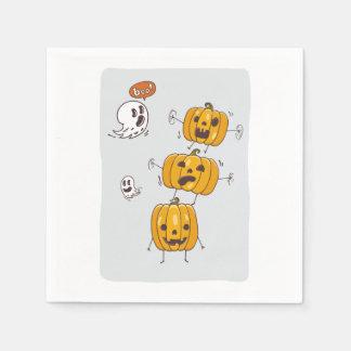Halloween Pumpkins and Ghosts Paper Napkins
