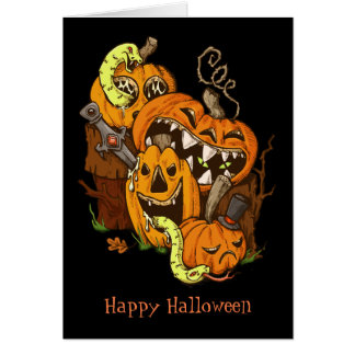 Halloween Pumpkins and Snakes Greeting Card