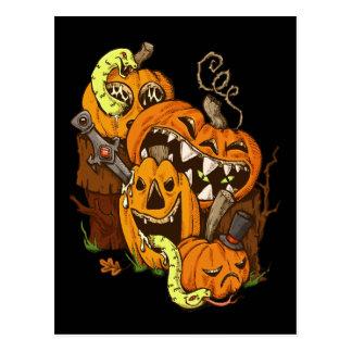 Halloween Pumpkins and Snakes Postcard