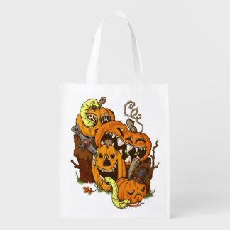 Halloween Pumpkins and Snakes Reusable Bag