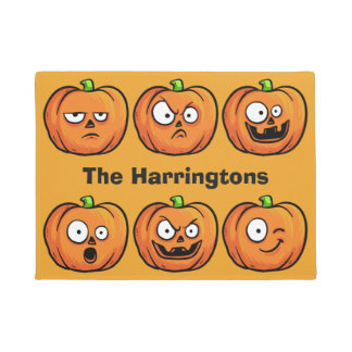 Halloween Pumpkins custom name door mat