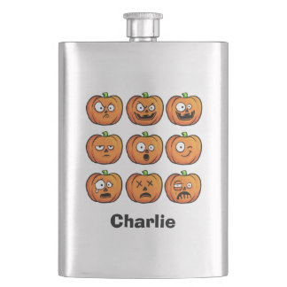 Halloween Pumpkins custom name flask