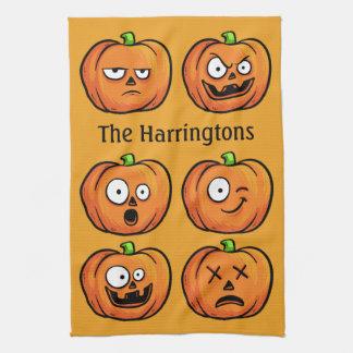 Halloween Pumpkins custom name kitchen towel