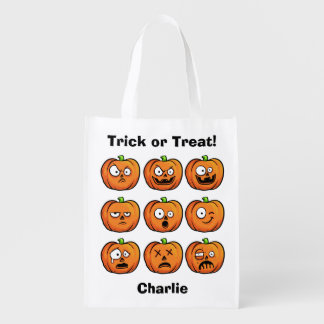 Halloween Pumpkins custom name reusable bag