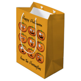 Halloween Pumpkins custom text medium gift bag