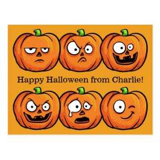 Halloween Pumpkins custom text postcard