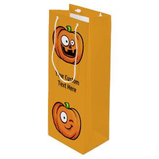 Halloween Pumpkins custom text wine gift bag