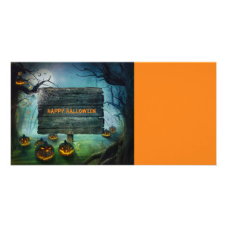 Halloween pumpkins photo greeting card