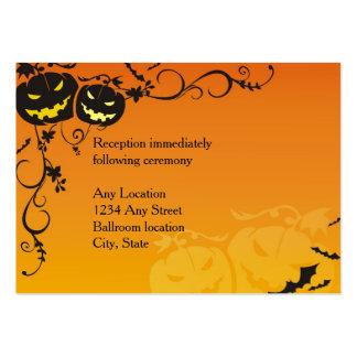 Halloween Pumpkins Wedding Reception Cards Large Business Card