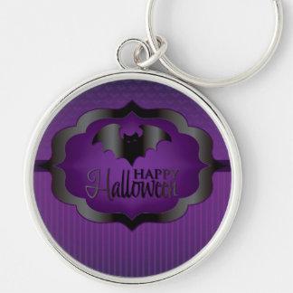 Halloween purple bat Silver-Colored round keychain