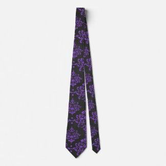 Halloween Purple Damask Chalkboard Pattern Tie