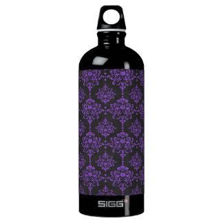 Halloween Purple Damask Chalkboard Pattern Water Bottle
