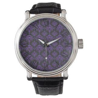 Halloween Purple Damask Chalkboard Pattern Wrist Watches