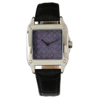 Halloween Purple Damask Chalkboard Pattern Wristwatches