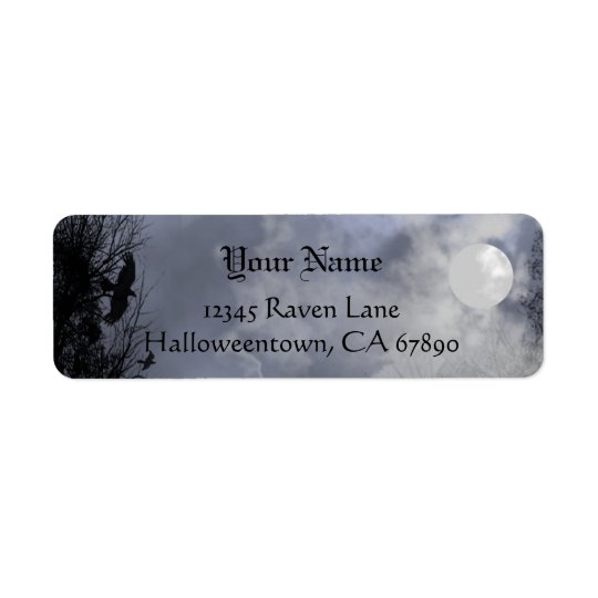 Halloween Raven Blue Sky Custom Address Label