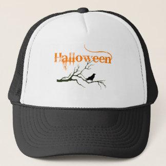Halloween Raven Branch Trucker Hat
