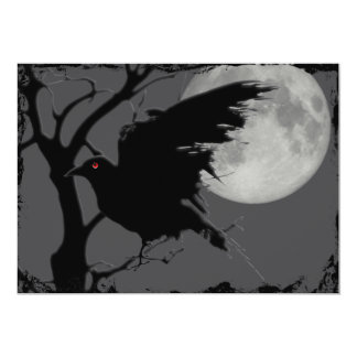 Halloween Raven in Branch with Full Moon Card