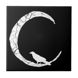 Halloween Raven on Crescent Moon Ceramic Tile