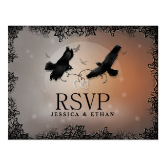 Halloween Ravens Wedding RSVP Matching PostCard