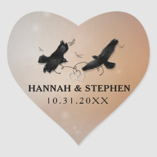 Halloween Ravens with Hearts Wedding Heart Heart Sticker