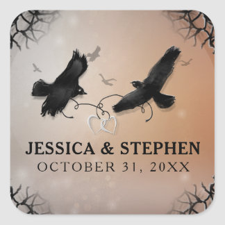 Halloween Ravens with Hearts Wedding Square Square Sticker