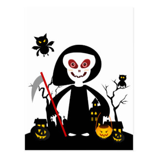 Halloween reaper kid goes trick or treating postcard