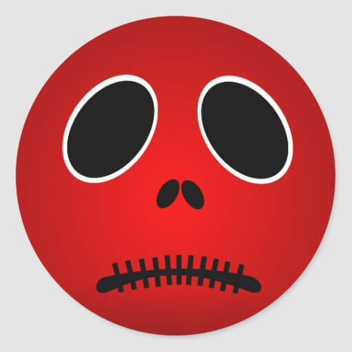 Halloween red scary sad face stickers zazzle