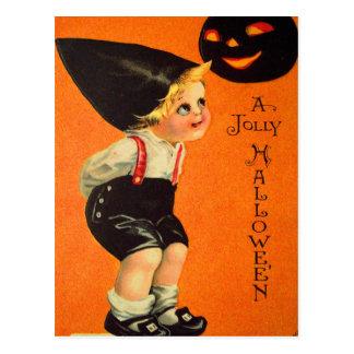 Halloween Retro Vintage Kitsch Jolly Black Pumpkin Postcard