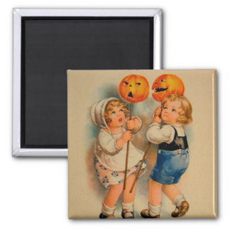 Halloween Retro Vintage Kitsch Jolly Halloween Kid Magnet