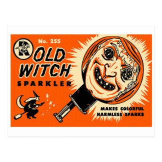 Halloween Retro Vintage Kitsch Old witch Sparkler Postcard