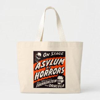 Halloween Retro Vintage Monsters Asylum of Horrors Jumbo Tote Bag