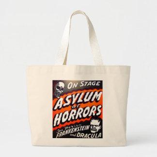 Halloween Retro Vintage Monsters Asylum of Horrors Large Tote Bag